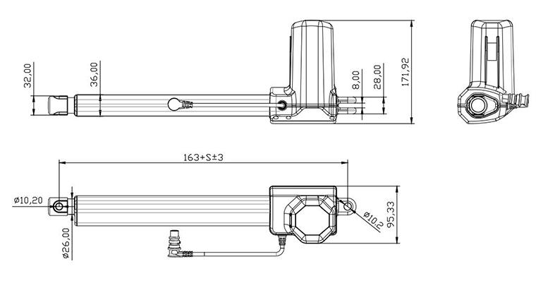 电动伸缩杆结构尺寸