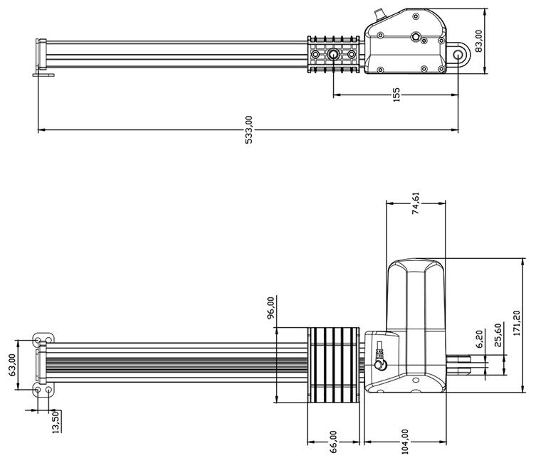 工业电动推杆u5结构图